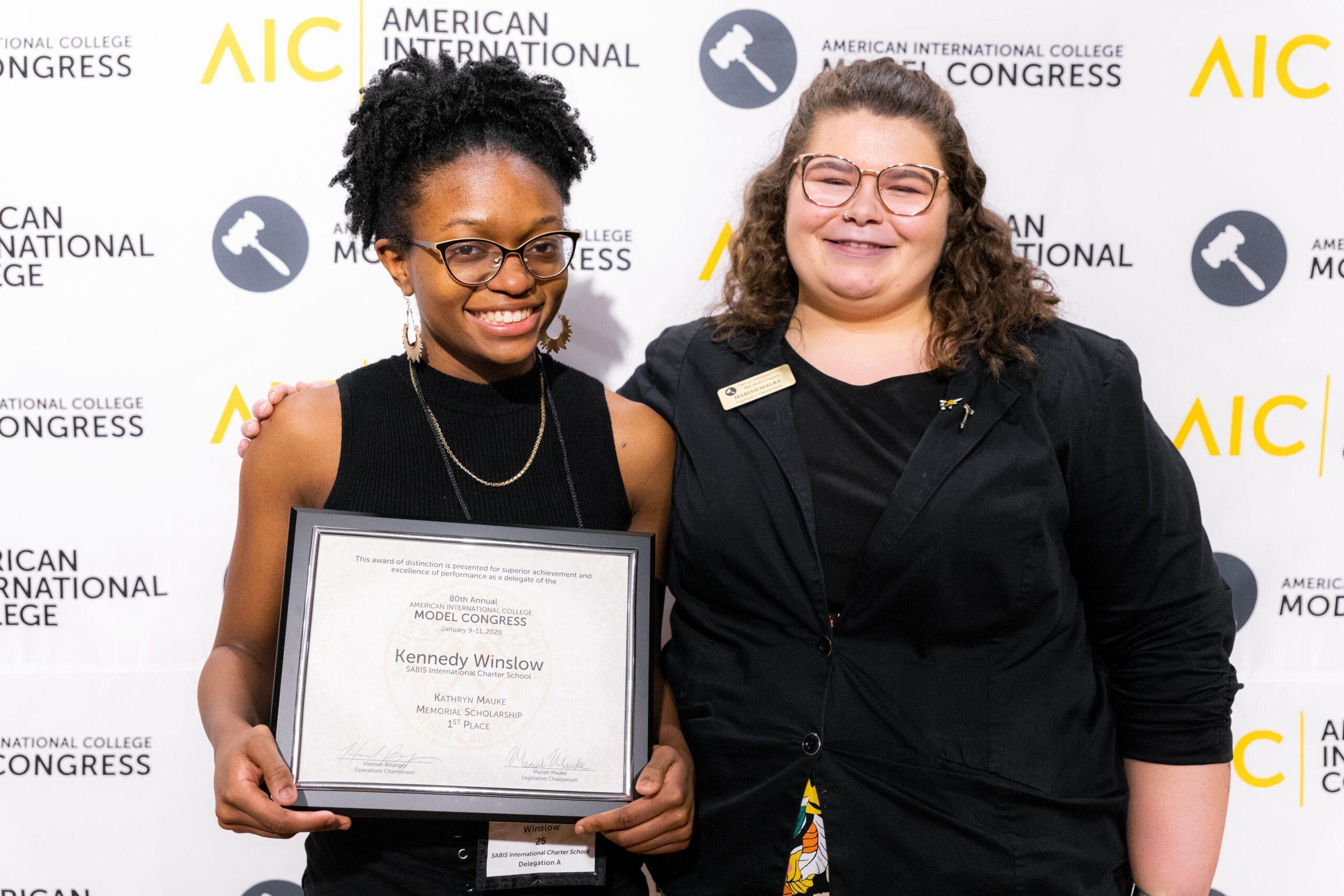 Kathryn Mauke Scholarship Winner Kennedy Winslow from SABIS International Charter School with Model Congress 2020 Legislative Chair Mariah Mauke