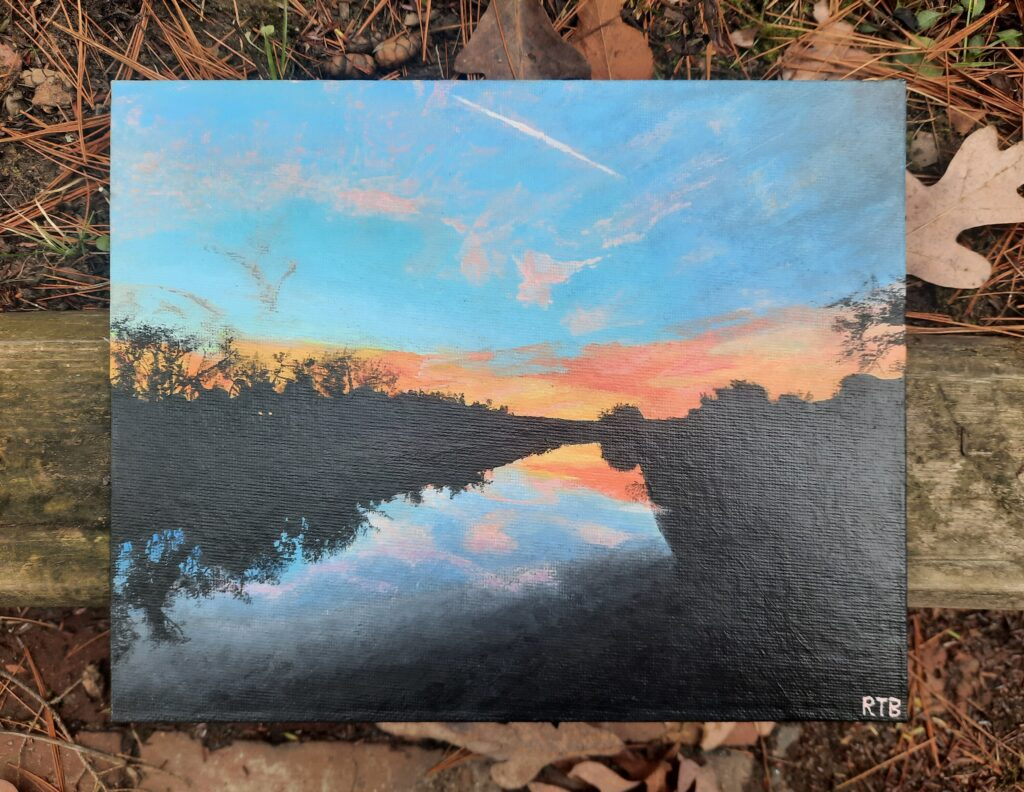 Painting by Rain Bowrys, Concept Vibrant Sunset capturing creating the illusion of space distance, Course name The Vital Basics Drawing, Painting, and Sculpture